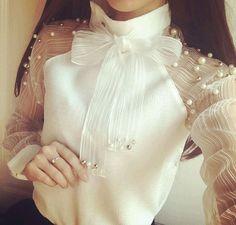 Tops Novo 2016 Moda Feminina Blusa de Renda Das Mulheres Verão Frisado Chiffon Blusa Branca Camisas Arco Doce de Manga Longa Tops Blusas