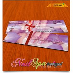 Gift Certificates for nail spa salon www.NailSpaDesigns.com || one-stop-shop for all your nail spa graphic designs, nail spa printing services, and marketing needs