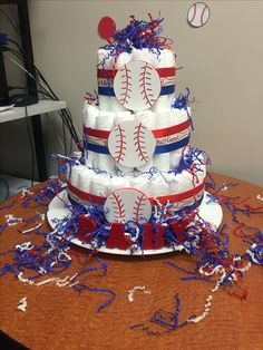 Baseball Diaper Cake #SundaraDesigns