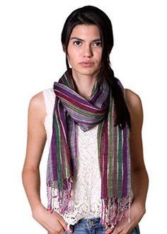 Women's Glamour Jewel Shimmer Dazzle Multicolor Stripe Fashion Scarf (Purple): Amazon.co.uk: Clothing