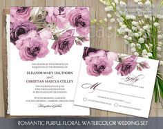 Watercolor Floral Wedding Invitation | Rustic Boho Purple Floral Wedding Invitation Printable Digital Wedding DIY | Purple Peonies RSVP Card by NotedOccasions