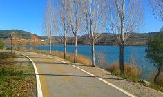 El carril bici perimetral al lago tiene 2,500 m de longitud.