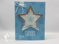 Stampin' Up! ... handmade Christmas card ... dazzling joy (French) ... shaker card ... star framelit cut with shiny silver frame and stamped vellum ... sequins inside ... lovely!