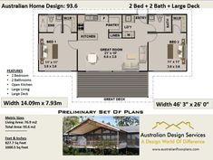 m or 1000 sq foot - Australian 2 Bed + 2 Bath + Home Plans For Sale / on stumps and timber floor / Steep Slope House Design House Plans One Story, Barn House Plans, Modern House Plans, Small House Plans, House Floor Plans, Cabin Plans, Low Cost House Plans, 2 Bed House, 2 Bedroom House Plans