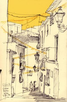 catalina: Y una calle arabesca. Altea, Valencia, Spain.  City sketches with ball pen and digital color.