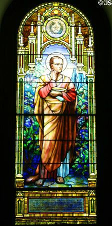 St. Luke stained glass for Texas by Louis Comfort Tiffany at Blandford Church. Petersburg, VA.