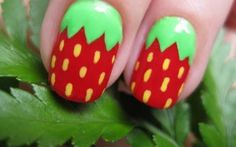 strawberry nails :)...I love this for toe nails too!