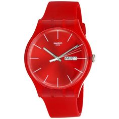 Swatch Originals Red Rebel Unisex Watch ($63) ❤ liked on Polyvore featuring jewelry, watches, analog wrist watch, swatch wrist watch, sport watch, plastic watches and red dial watches