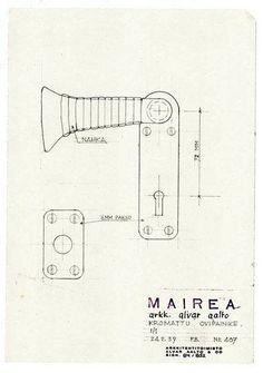 """Alvar Aalto...uno de los tiradores de Villa Mairea más en """"TRASPASAR"""", en http://www.santiagodemolina.com/2014/08/traspasar.html"""