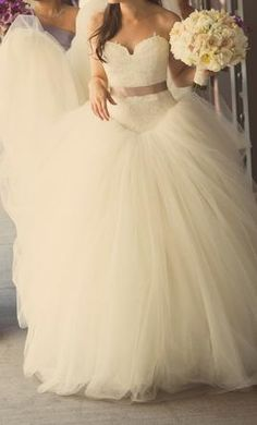 Used Vera Wang Wedding Dress  I don't like how the tool meets the top but basic idea of what I want!