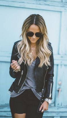 Leather jacket + tee.