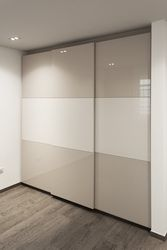 Probably the only sliding closet door I've ever really liked. BC Peristeri Apartment - s-archetype architecture Bedroom Cupboard Designs, Wardrobe Design Bedroom, Bedroom Cupboards, Bedroom Bed Design, Bedroom Furniture Design, Modern Closet Doors, Sliding Closet Doors, Glass Wardrobe, Wardrobe Doors