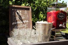 Camping wedding shower Etched Mason jars