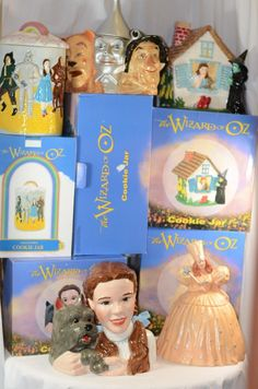 Wizard of Oz Cookie Jar Set Dorothy Toto Glinda House w/ Wicked Witch in Boxes
