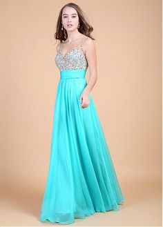 Fabulous Chiffon V-neck Neckline Floor Length A-line Sexy Prom Dress With Beadings