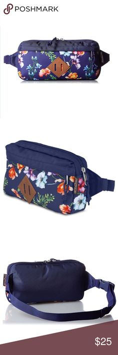 "NWT Jansport Waisted Fanny Pack Navy Mtn Meadow NWT Jansport Waisted Fanny Pack in Navy Mountain Meadow. The JanSport Waisted carries the essentials you need to make the most of your day while carrying less. Featuring an adjustable waist belt, zippered front pocket and faux-leather trim. One main compartment. Adjustable waist belt. Leather trim. Dimensions: 5.5"" x 10"" x 2"" / 14 x 25.5 x 5 cm. 183 cubic inches. Made in Vietnam. Jansport Bags"
