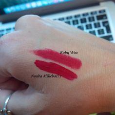 MAC lipstick Retro Matte Ruby Woo vs Nouba Millebaci 7 Long Lasting Lip Color 7