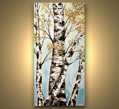 Original Blooming Birch Tree acrylic Landscape by OsnatFineArt