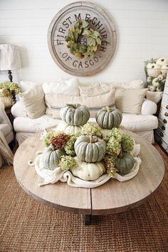 Neutral Fall Decor - Heirloom pumpkin Coffee Table -
