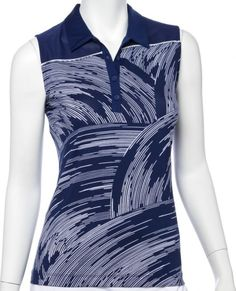 5321bd99b21 EP New York Ladies   Plus Size Sleeveless Print Golf Polo Shirts - SILVER  STREAK (Inky Multi)