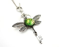 Gothic Skeleton Key Necklace    Clockwork Dragonfly by SteamSect