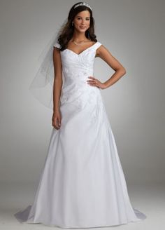 Satin Off the Shoulder Side Draped A Line Gown AI10042899