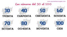 "#Spanish numbers from 30 to 100... Well, I guess we should say ""los números del treinta al cien"""
