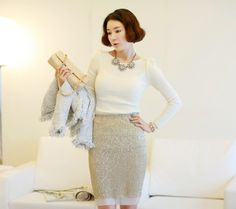 Stunning Charming Fitting Sequin Mid-Calf Professional Pencil Skirt For Women (SILVER,M) | Sammydress.com 15$