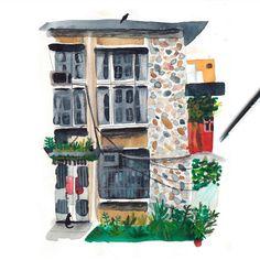 Taiwan memories #illustration #sketchbook Marc Martin, Taipei, Botanical Art, Draw, Instagram Posts, Illustration, Artist, Houses, Painting