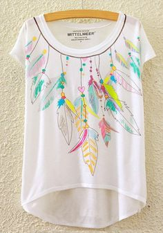 ca1722a98b47a6 Disegni e fumetti  Chic Feather Pattern High Low Loose Fit Tee