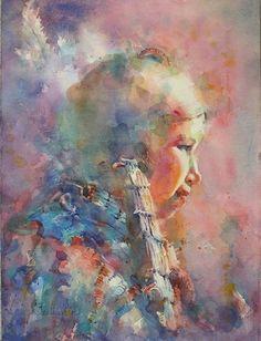 watercolor,genre (Contemporary Painting, Watercolor, Portrait)