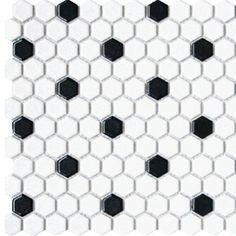 Roca Tile 1X1 Hexagon White & Black Matte Mosaic