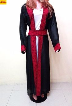 Abaya Thobe Embroidered Handmade Palestinian Traditional Arabic Dress cardigan