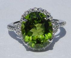 Natural Untreated 5.55 Carat Peridot & Diamond by bluefirejewelry, $1800.00