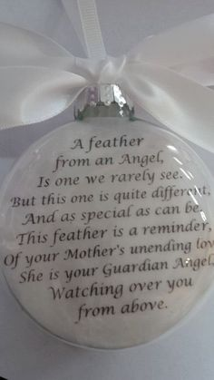 "Glass In Memory Memorial Mother Father Papa Mama Mema Mom Dad Custom Christmas Remembrance Ornament ""A Feather from a Guardian Angel"" Christmas Crafts For Gifts, Christmas Projects, All Things Christmas, Craft Gifts, Christmas Holidays, Christmas Ideas, Christmas Neighbor, Grinch Christmas, Christmas Movies"