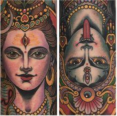 Hindu Tattoos, God Tattoos, Body Art Tattoos, Kali Tattoo, Shiva Tattoo Design, Mandala Tattoo, Lotus Tattoo, Tattoo Ink, Tattoo Buddhist