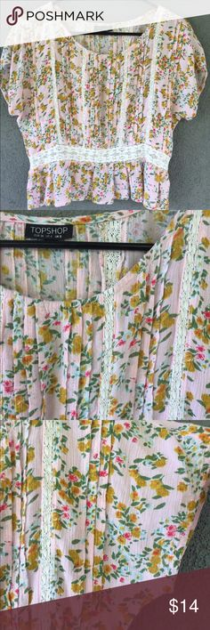 "TopShop Pink Boho Romantic Floral Crop Top 4 Small • US size 4  • 100% viscose  • 19"" long (shoulder to hem)  • approx 20"" chest (wide dolman short sleeves)  • romantic feminine pink floral print with lace panel inserts  • skirted peplum hem  • in excellent preowned condition  • smoke free home Topshop Tops Blouses"