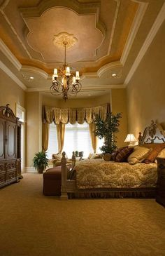 100 Gorgeous MasterBedrooms - Style Estate -  Love the detail in the carpet, check out the ceiling