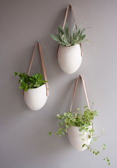 Hanging Vertical Planters http://www.urbangardensweb.com/2012/03/26/leather-and-porcelain-hanging-vertical-planter/