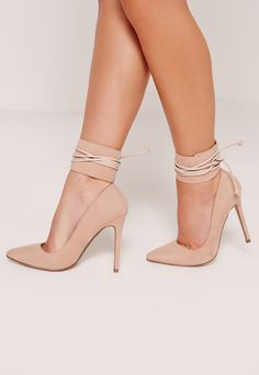 Lace Up Ankle Cuff Court Shoes Nude