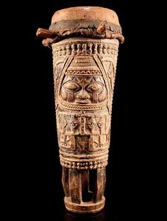 Africa   Drum from the Yoruba people of Nigeria   Wood and hide/leather.