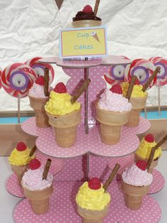 Cupcakes in ice cream cones at an Ice Cream Party #icecream #partyfood