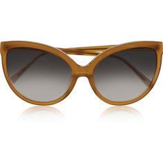Linda Farrow Cat-eye acetate sunglasses (€205) ❤ liked on Polyvore featuring accessories, eyewear, sunglasses, glasses, mustard, acetate sunglasses, linda farrow, cat eye sunglasses, uv protection glasses and acetate glasses