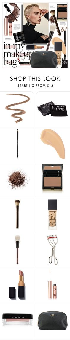 """""""#makeupbag"""" by stylemeup-649 ❤ liked on Polyvore featuring beauty, Elizabeth Arden, NARS Cosmetics, Kevyn Aucoin, Hourglass Cosmetics, Charlotte Tilbury, Illamasqua, Coach and Bumble and bumble"""