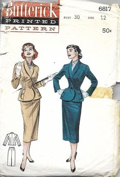 Butterick 6817 Misses Fitted Suit Sewing Pattern, Narrow Revers, Four Gore Pencil Skirt, Size Bust 30 by DawnsDesignBoutique on Etsy Gored Skirt, Slim Fit Suits, Pattern Images, Fashion Design Sketches, Fitted Suit, Retro Dress, Vintage Sewing Patterns, 1950s, Vintage Fashion