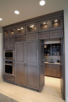 Image result for kitchen cabinets gray stain and brown stain island