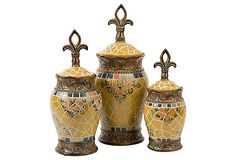 Ooooo, I could make these~S/3 Vallarta Ceramic Canisters on OneKingsLane.com