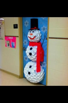 snowman from styrofoam cups on classroom door holiday door decorating contest perhaps