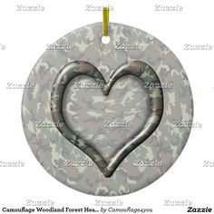 Military Camouflage Woodland Forest Heart on Camo Ceramic Ornament  #camouflage4you #gravityx9 -