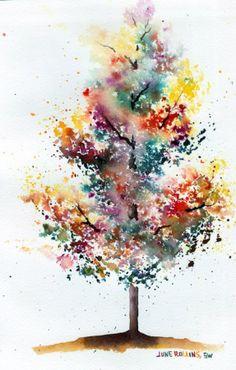 Autumn Bloom  mixing watercolor paints on paper w/ misting technique